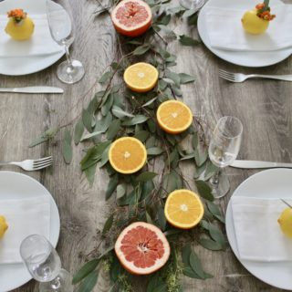 Citrus Table Setting + Table Runner under $10!