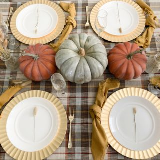 Thanksgiving Plaid and Pumpkin Tablescape