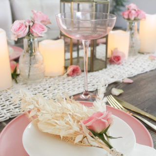 Pink Tablescape With Dried Mini Floral Bouquets