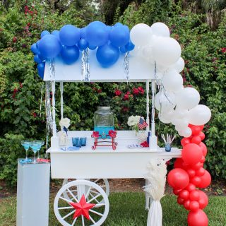 How to Style a Festive Red, White and Blue Drink Station